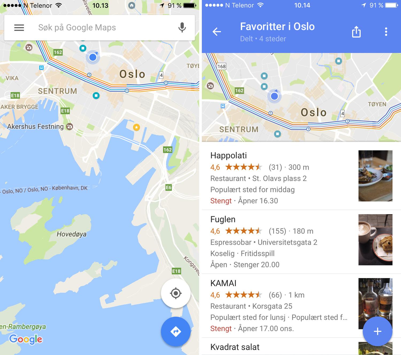 Google Maps Oppdatering Na Er Det Mye Enklere A Dele Dine